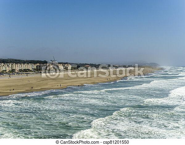 people enjoy the waves at Ocean Beach - csp81201550
