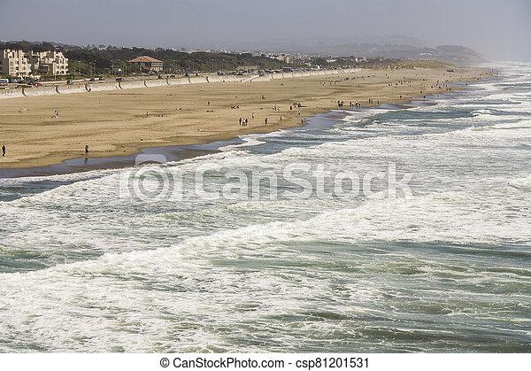 people enjoy the waves at Ocean Beach - csp81201531