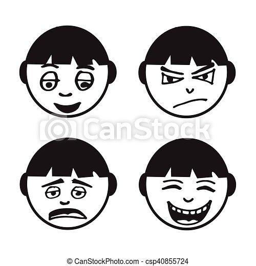 people face emotion icon illustration design - csp40855724