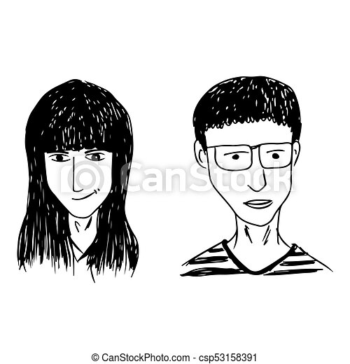 People face hand draw - csp53158391