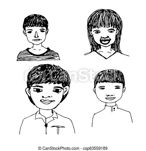 People face hand draw - csp63559189