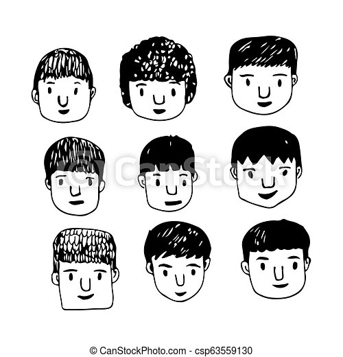 People face hand draw - csp63559130