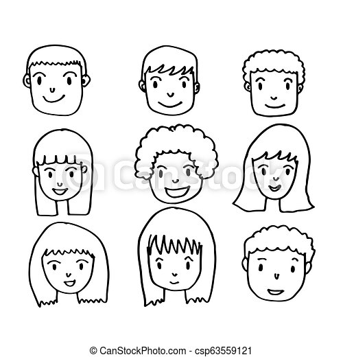 People face hand draw - csp63559121