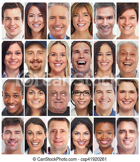 people faces collection set of smiling face collection people group