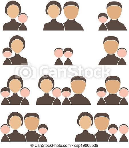 People Family icon set - csp19008539