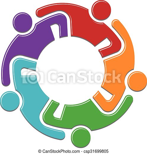 people family logo teamwork group persons in reunion logo design