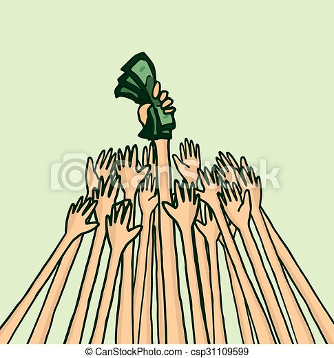 People Fighting Over Business Money Cartoon Illustration Of Lots Of Arms Fighting Over Money Or Business