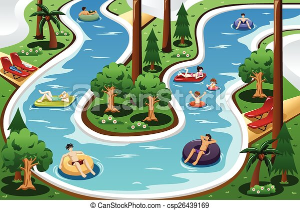 People floating in a lazy river pool a vector illustration of people floating in a lazy river pool How to draw swimming pool water
