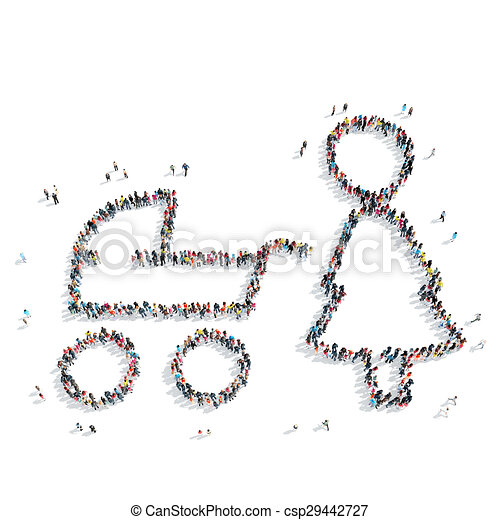 people form mother baby carriage - csp29442727