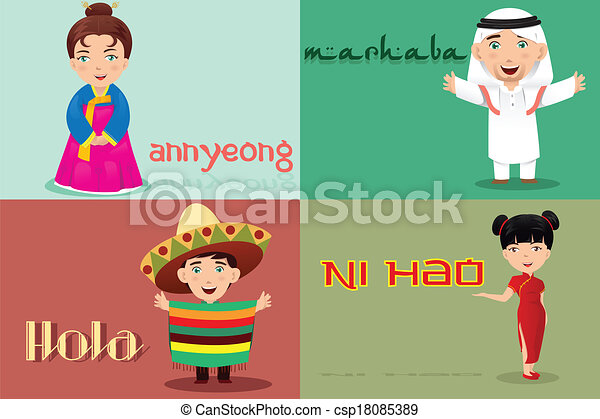 People from different cultures saying hello - csp18085389