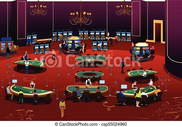 People Gambling in Casino Illustration - csp55024960