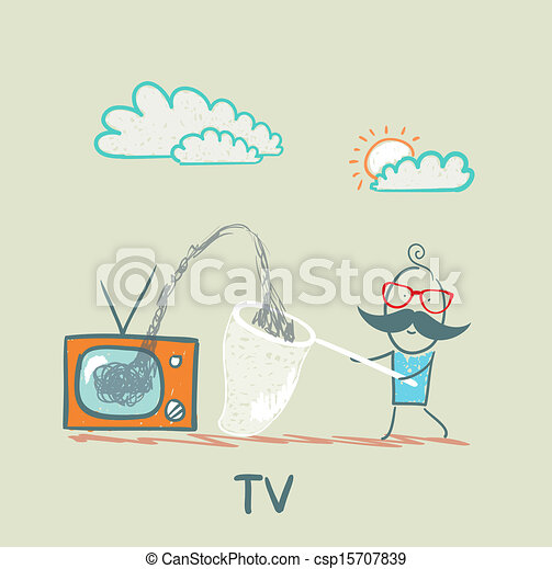 People Gather Information In A Butterfly Net With TV