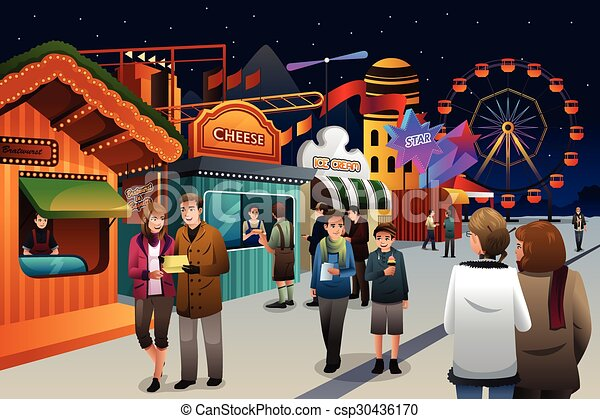 People Going To Amusement Park Vector