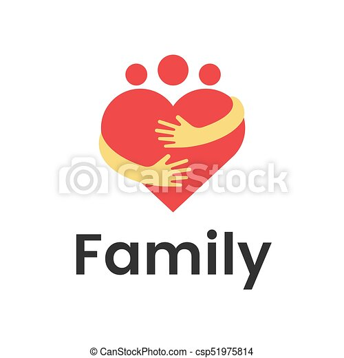 people group family heart hug logo design graphic abstract family