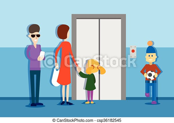people in elevator clipart. people group waiting elevator house interior - csp36182545 in clipart