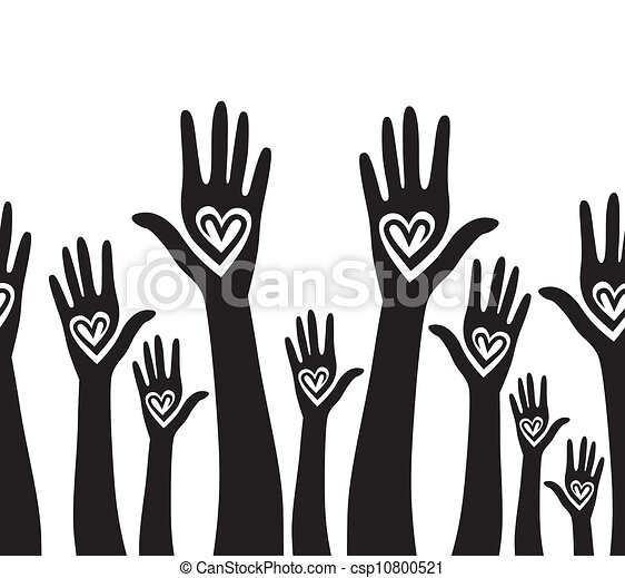 People hand like heart united seamless background. - csp10800521