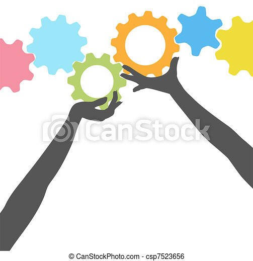 People hands hold up technology gears - csp7523656
