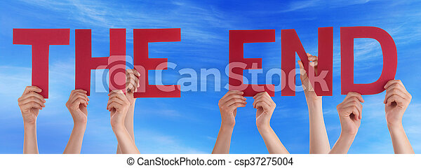 People Hands Holding Red Straight Word The End Blue Sky - csp37275004