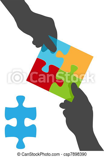 People hands team collaboration puzzle solution - csp7898390