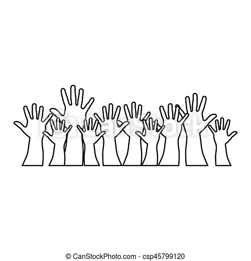 people hands up together icon - csp45799120