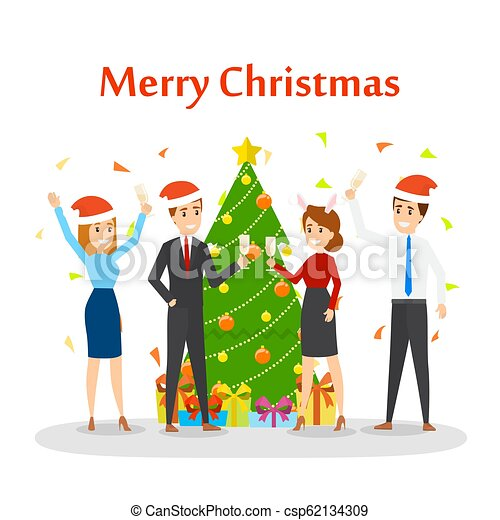 Christmas Party Images Cartoon.People Have Fun On The Office Christmas Party