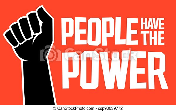 People Have The Power design with raised fist. - csp90039772