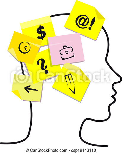 People head with memory stickers - csp19143110