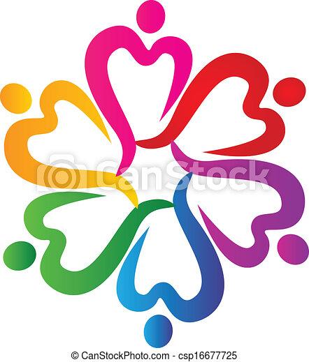 People hearts around logo - csp16677725