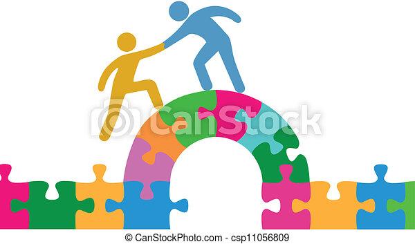 People help join solve bridge puzzle - csp11056809
