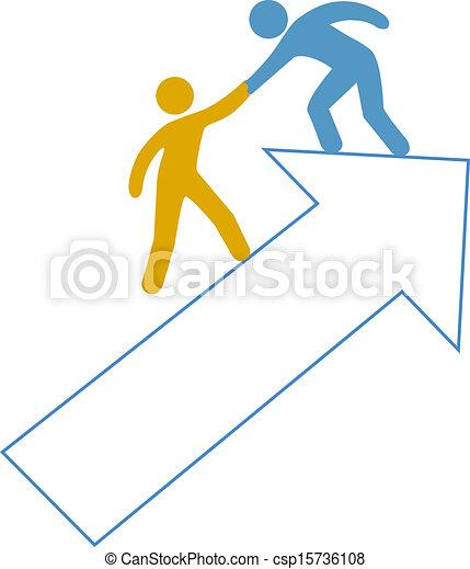 People helping hand up arrow - csp15736108