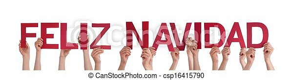 People Holding Feliz Navidad - csp16415790