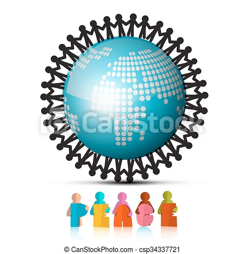 People Holding Hands Around Globe and Peace Paper Cut Title - csp34337721