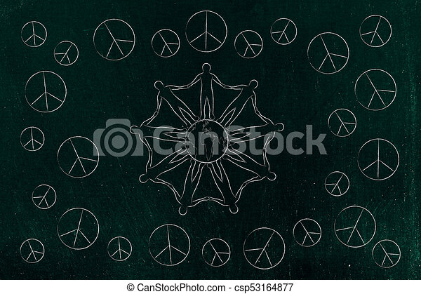 World Peace And Solidarity Conceptual Illustration People Holding