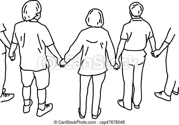 Sketches Of People Holding Hands