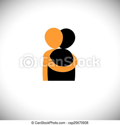 people hug each other, friends embrace - vector graphic. - csp25670938