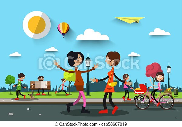 People in City Park. Vector Summer Landscape Illustration with Women and Man. - csp58607019