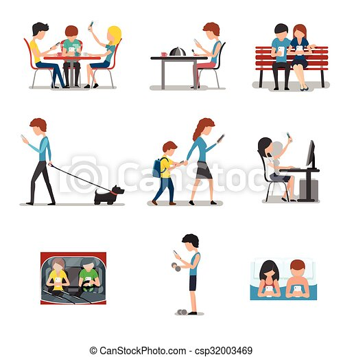People in different action use smartphone. vector mobile ...
