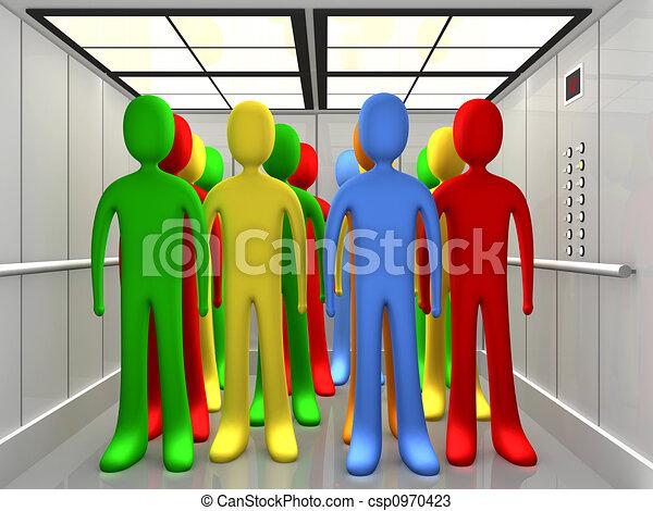 People In Elevator - csp0970423