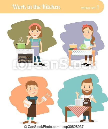 People in kitchen - csp30828937