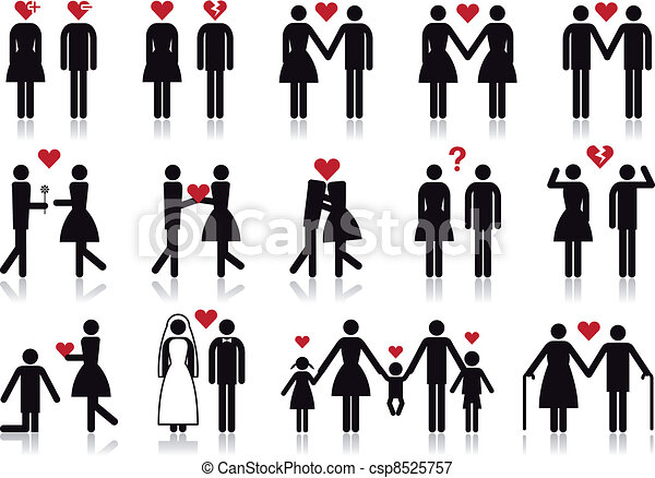 People In Love Vector Icon Set Love And Relationship Vector