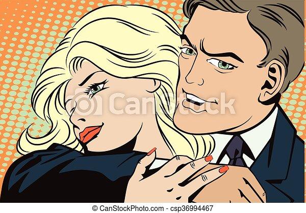 people in retro style pop art couple in love stock illustration