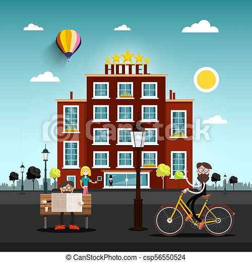 People in the City with Skyline on Horizon. Hotel Building on Background. Flat Design Vector Illustration. - csp56550524