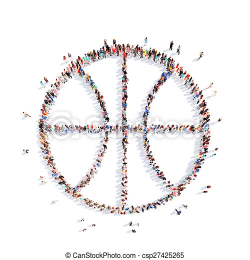 people in the shape of a basketball. - csp27425265