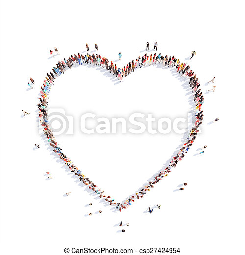 people in the shape of a heart. - csp27424954