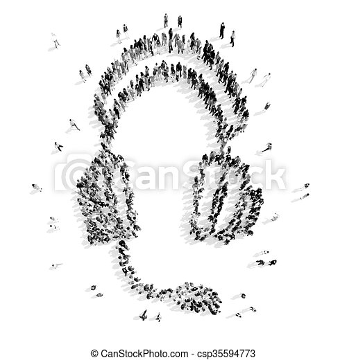 people in the shape of headphones. - csp35594773