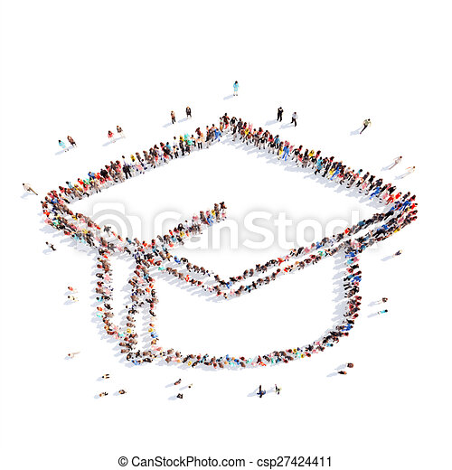 people in the shape of student hat. - csp27424411