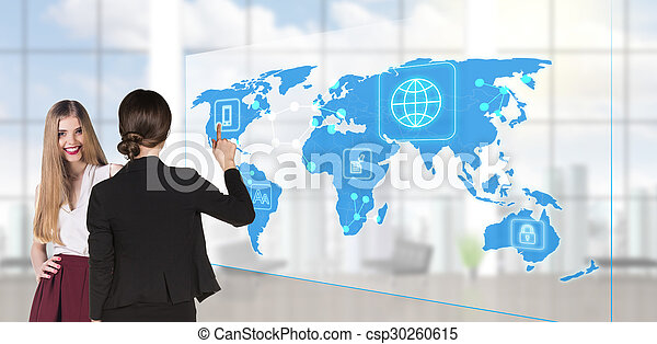 People looking to global business map - csp30260615