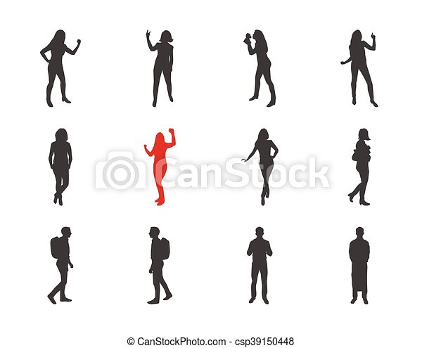 People Male Female Silhouettes In Different Casual Poses Modern