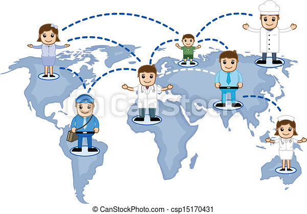 Drawing art of cartoon people network on world map vector illustration people network on world map vector gumiabroncs Images