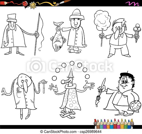 people occupations coloring page - csp26989644